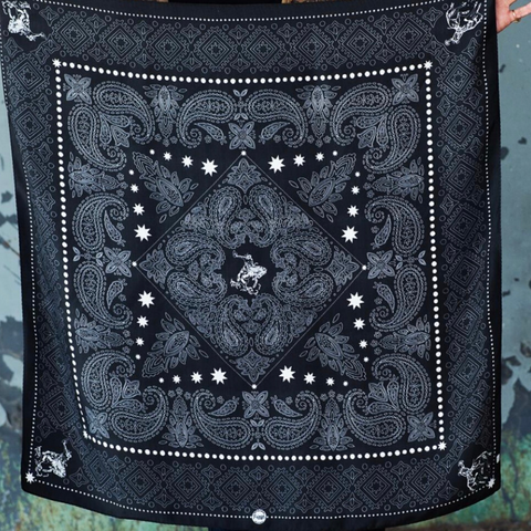 Black Silk Bandito by Fringe Scarves