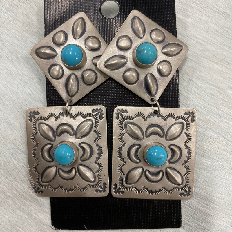 Sterling Silver and Turquoise Harris Joe Earrings