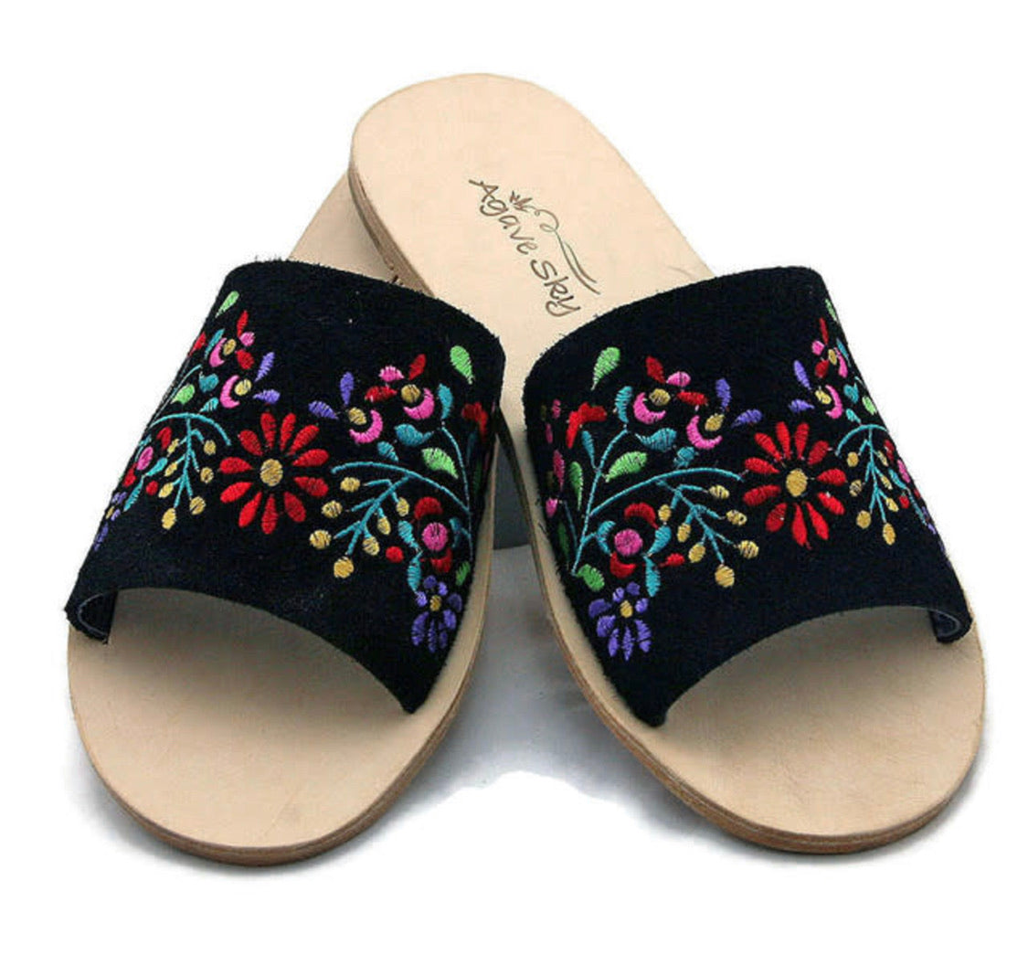 Nadia Floral Embroidered Slide