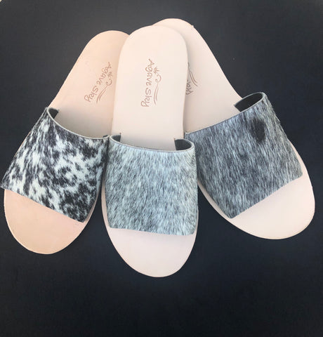 Salt & Pepper Cowhide Slides