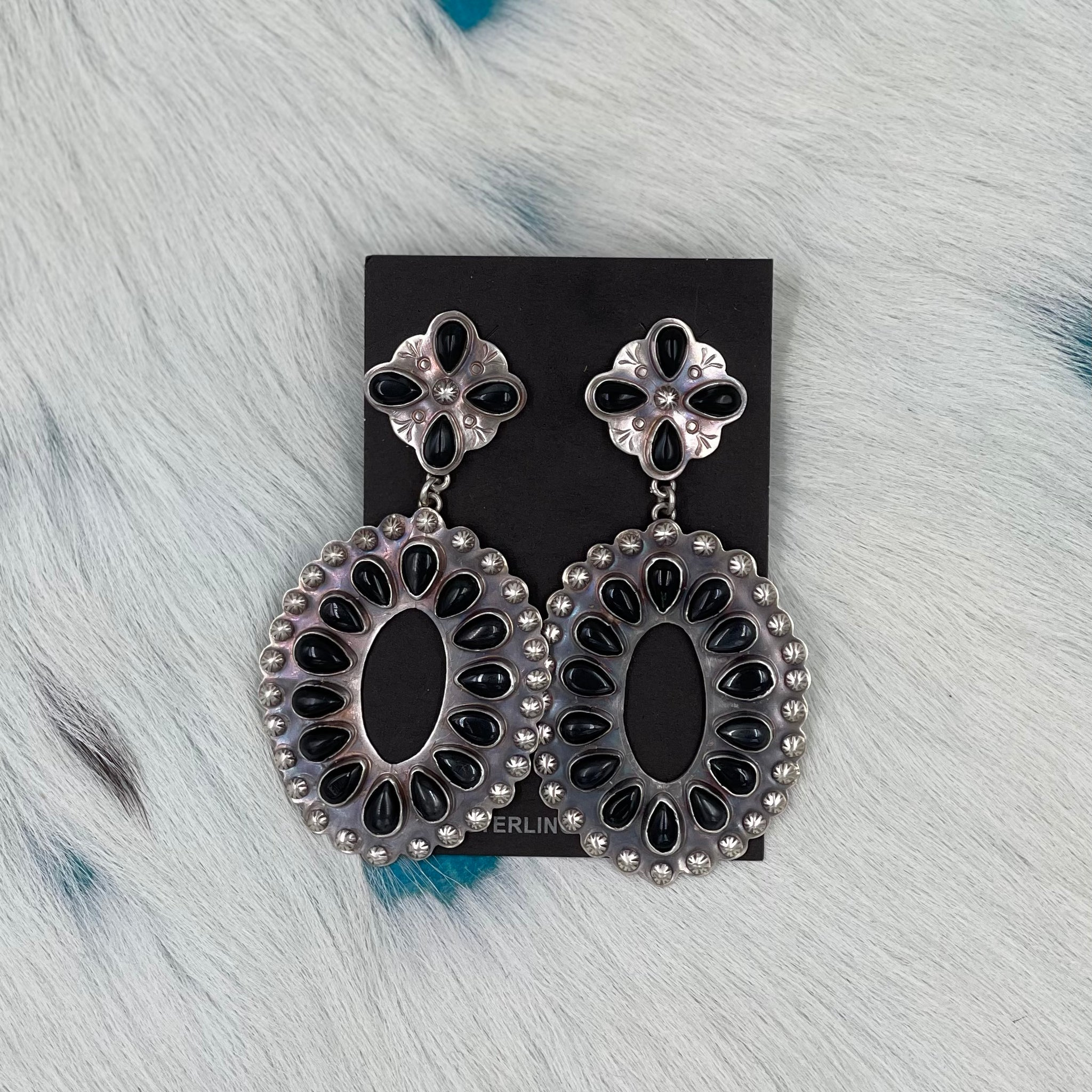 Large Black Earrings