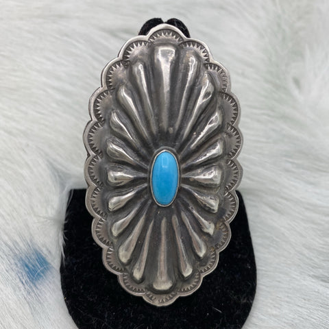 Concho Ring with Kingman Turquoise Stone