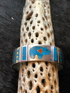 Zuni Inlay Bear Cuff
