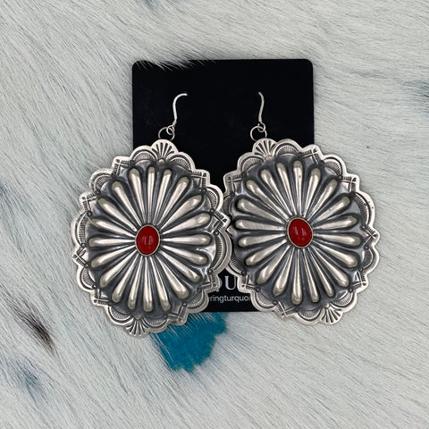 Large Concho Earrings with Coral