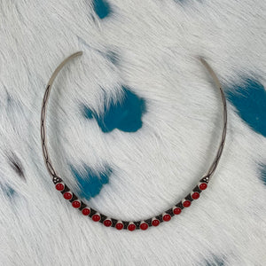 Red Coral Choker Style Necklace