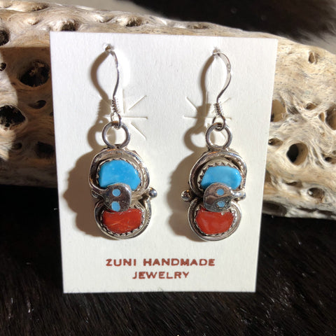 Effie Calavaza Coral and Turquoise Earrings