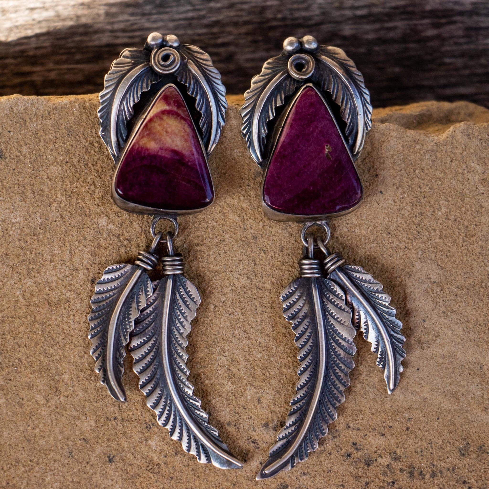 Purple Spiny Feather Earrings