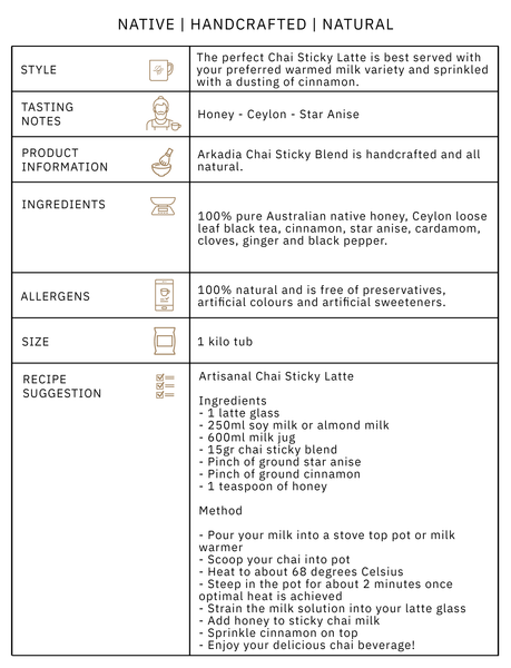 Arkadia Sticky Chai Blend Product Information Graphic