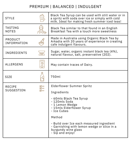 Arkadia Black Tea Syrup Product Information Graphic