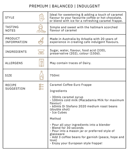 Arkadia Caramel Syrup Product Information graphic