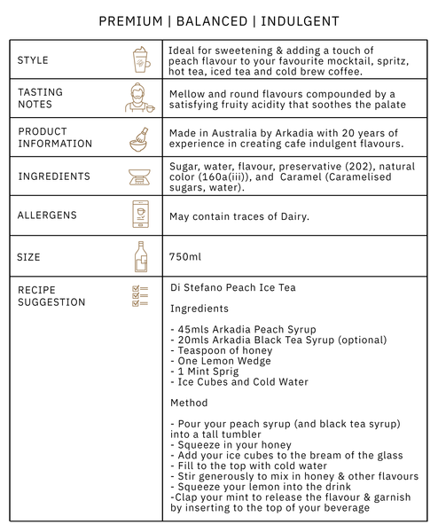 Arkadia Peach Syrup Product Information Graphic