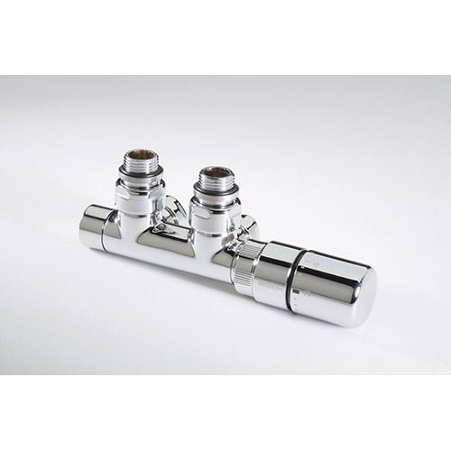 Twin Valve Angled TRV MHS Chrome Head