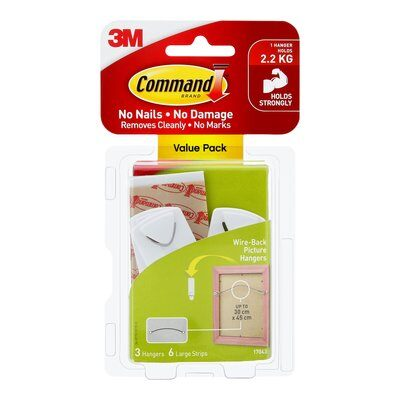 Command™ Wire-Back Picture Hanger Value Pack White 3pk - 17043