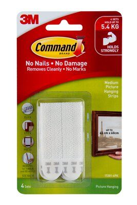 Command™ Medium Picture Hanging Strips White 4pk - 17201