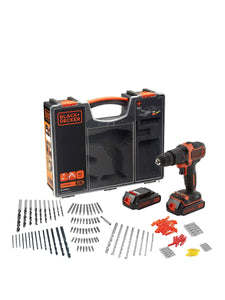 Black & Decker 18V Hammer Drill, 2x Batteries, Organiser Case & 160 Accessories