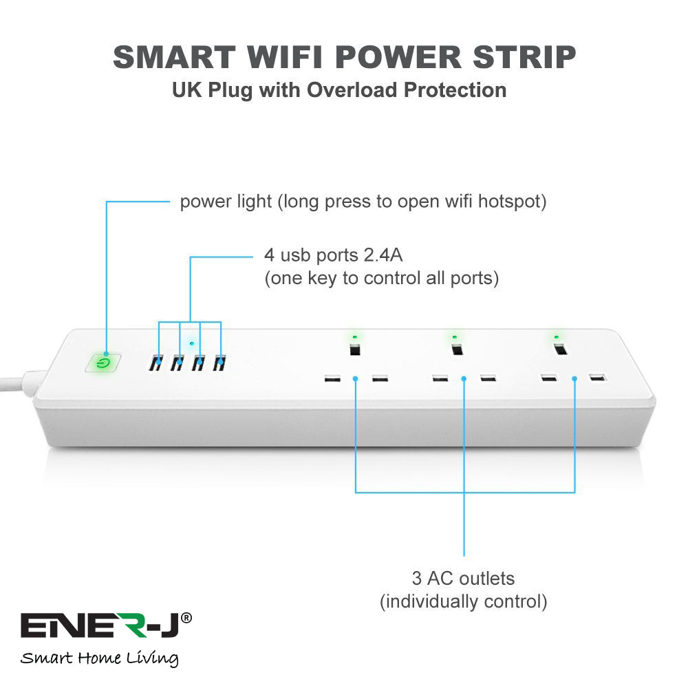 Ener-J Wifi Extension Lead with 4xUSB