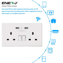 Load image into Gallery viewer, Wi-Fi Twin Wall Socket + 2 USB Ports