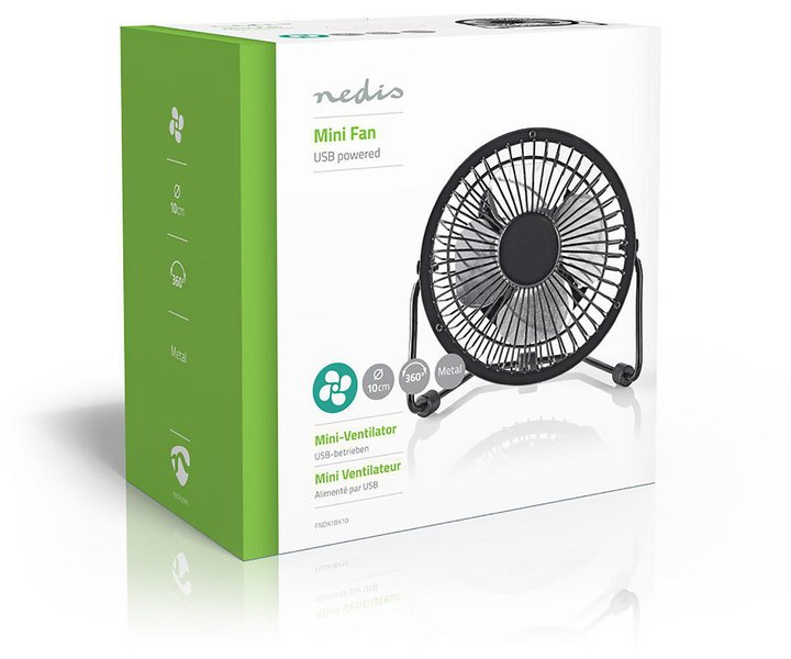 Nedis USB mini fan black