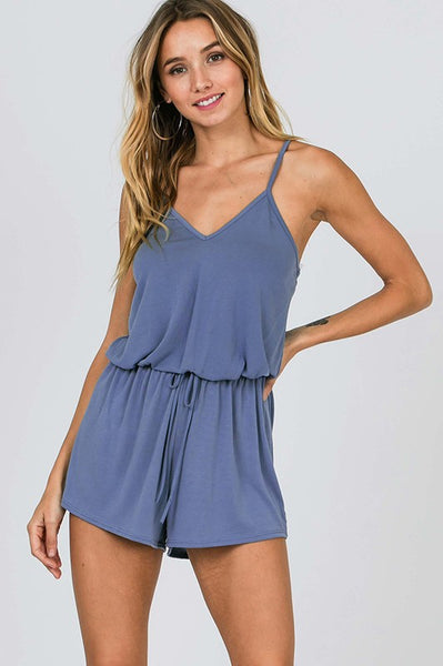 blue sleeveless casual romper