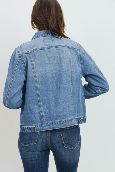medium wash denim jacket for women