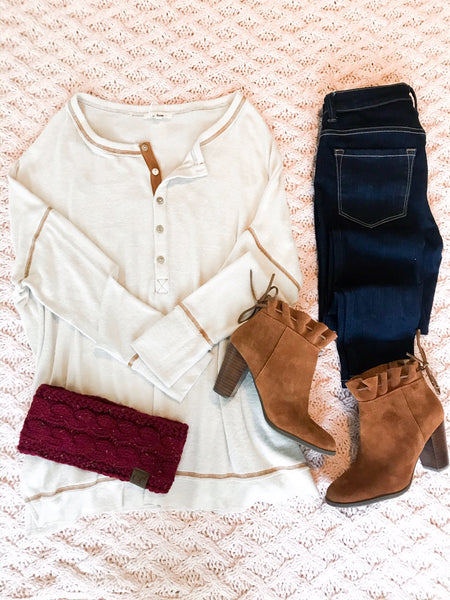 soft henley top outfit