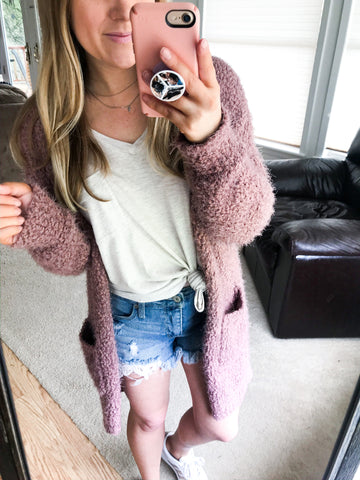 soft mauve cardigan