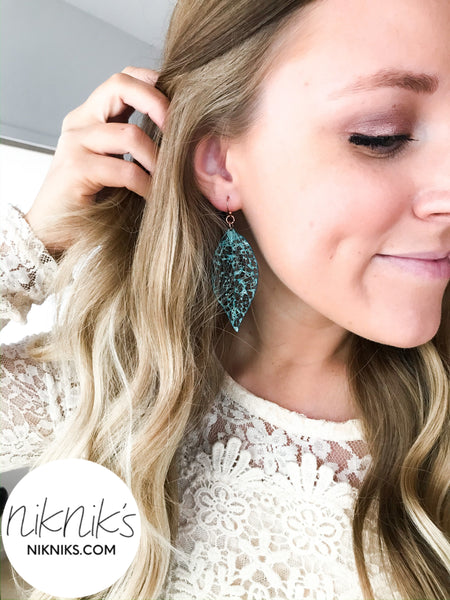 turquoise lightweight leaf earrings