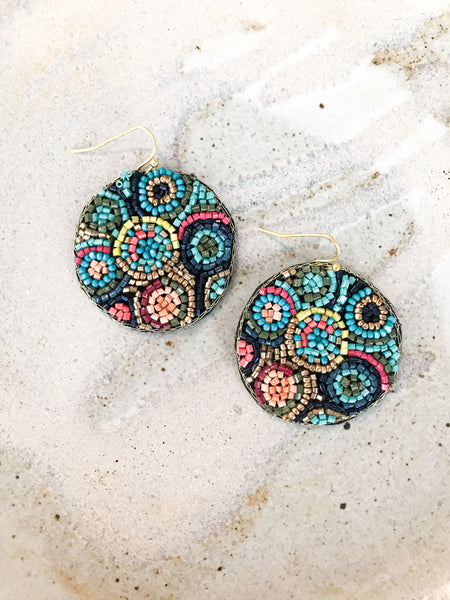 colorful beaded dangle earrings