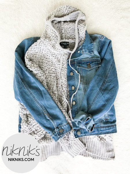 layered denim jacket with hoodie outfit