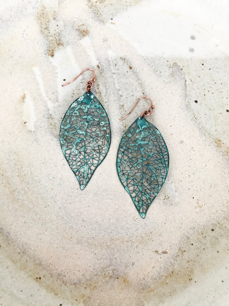 blue green leaf earrings