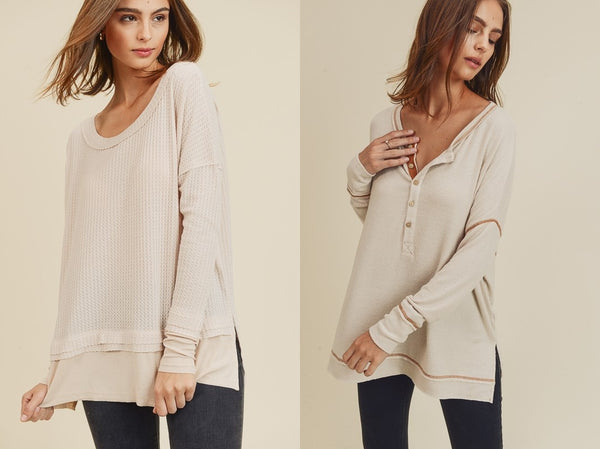 cream long sleeve tops