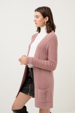 Mauve Soft and Fuzzy Cardigan