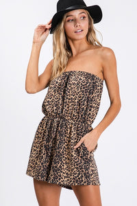 Strapless Leopard Pocket Romper