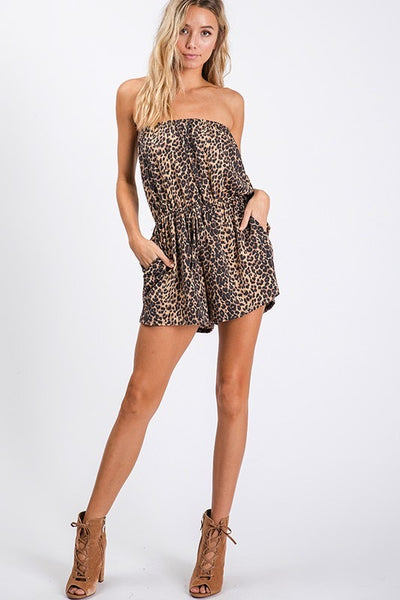 Strapless tie waist with pockets casual leopard print romper - brown