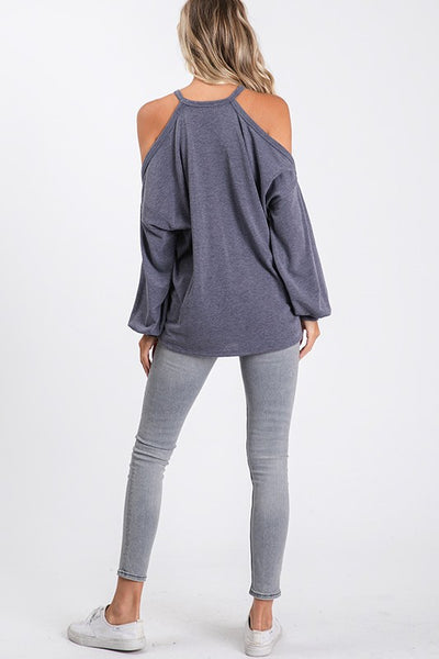 cold shoulder bubble sleeve oversized sweatshirt top - vintage navy