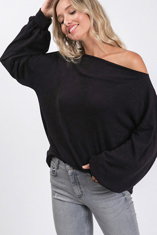 Black Off The Shoulder/Crew Neck Top
