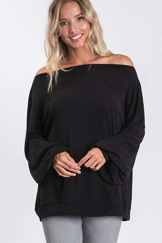 Off the shoulder or crew neck flowy sleeve top - black