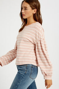 Pink Striped Bubble Sleeve Crop Top