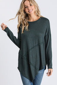Long sleeve round neck super soft tunic top - hunter green