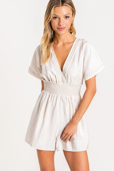 Lace Smocked Waist Romper