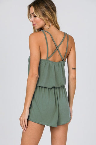 Sage Green Sleeveless Romper