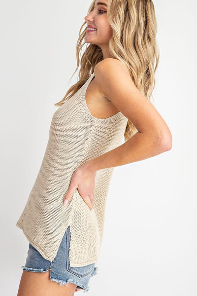 Oatmeal Sleeveless Sweater Tank - NIKNIK'S BOUTIQUE