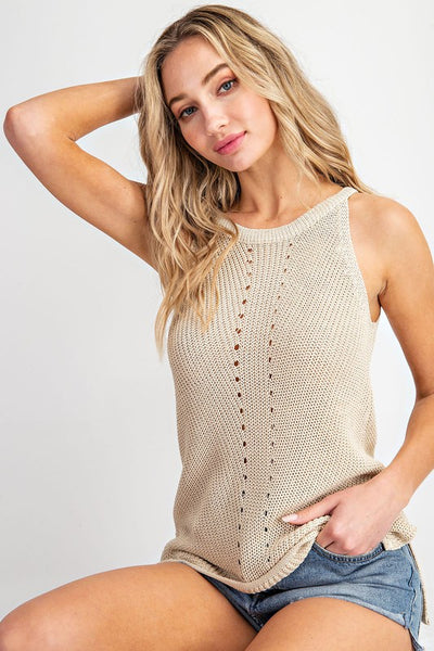 Oatmeal Sleeveless Sweater Tank