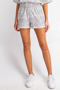 Soft Smocked Waist Leopard Shorts