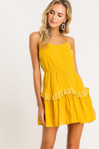 Mustard Yellow Eyelet Ruffle Mini Dress