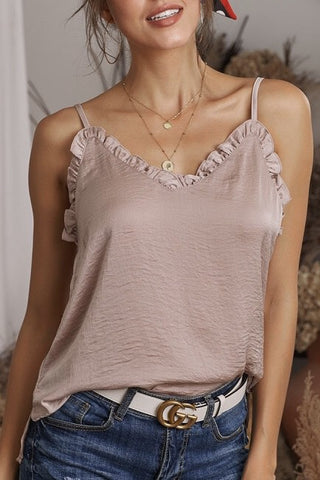 Light Brown Ruffle Neck Cami