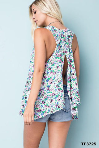 Blue Floral Sleeveless Split Back Top - NIKNIK'S BOUTIQUE