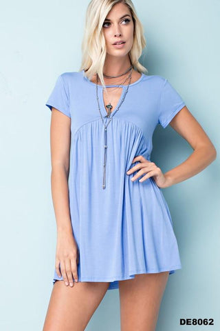 Blue Keyhole Front Mini Dress