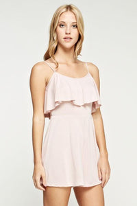 sleeveless ruffle front casual romper - light pink