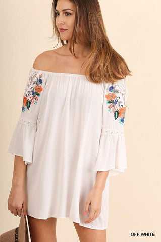 White Embroidered Off The Shoulder Dress